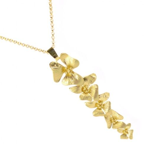 Long Floral Drop Pendant with Gold Scratched Finish