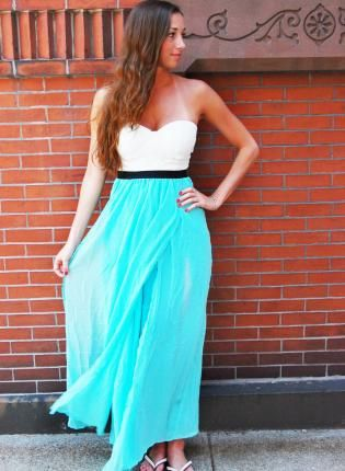 Turquoise Strapless Maxi Dress with Lace Top &amp- Slit Skirt- Dress ...