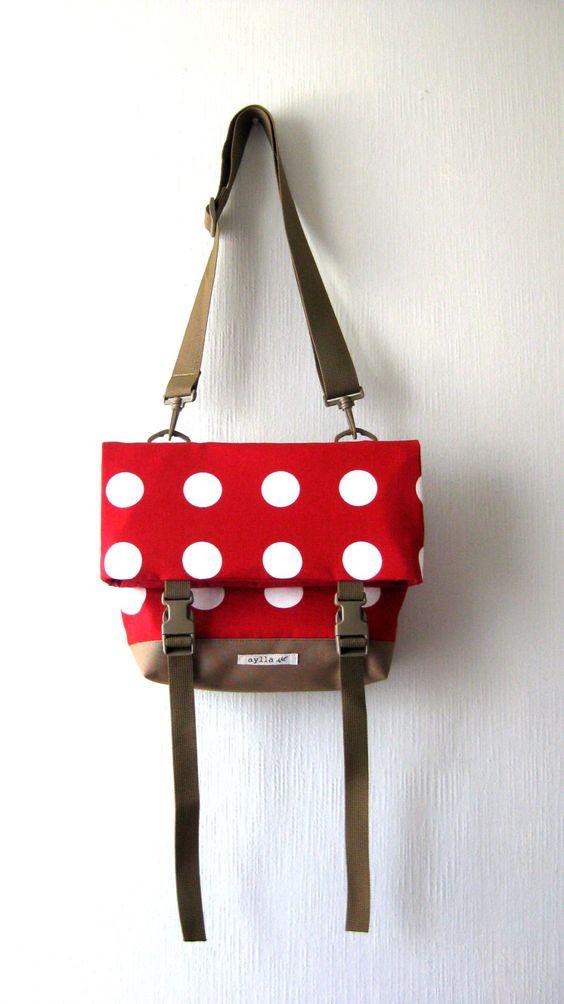 Polka Dot Red Foldover Crossbody Bag