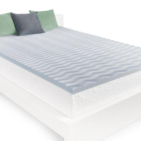 Obusforme Homedics 2 Cool Wave Memory Foam Mattress Topper Gray