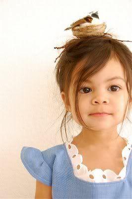 Presh. #nest #hair #girl #blue #dress #kid #diy #bird