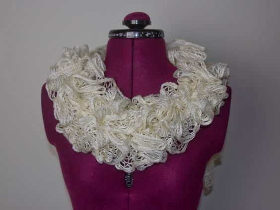 Flounce Ruffle Scarf  Ivory  Ready to Ship by CityGirlCreations98.etsyc.com