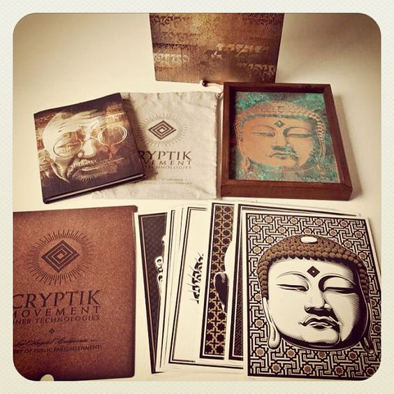CRYPTIK DELUXE ARTIST EDITION Here's a sneak peek at the Deluxe Artist Edition Box that includes a custom hand-painted box, unique/framed copper buddha, ten signed print, signed/numbered book in a custom/stenciled bag and a laser etched divider - edition 12.  The complete set of images to be released next week @ www.zeropluspublishing.com Photo: Kirk Pedersen