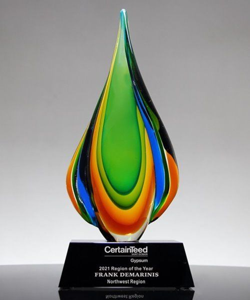 The Laguna Green Flame Art Crystal Award Is Hand Blown And Elevated Atop A Crystal Base Flame Art Glass Awards Crystal Awards