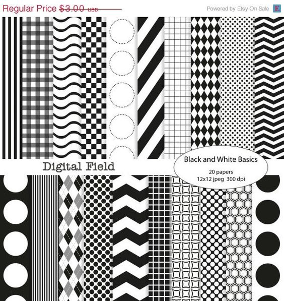 Holiday sale Black and White Basics digital scrapbooking paper pack - 20 jpeg papers, 12x12, 300 dpi - Personal and small commercial use. $2.40, via Etsy.