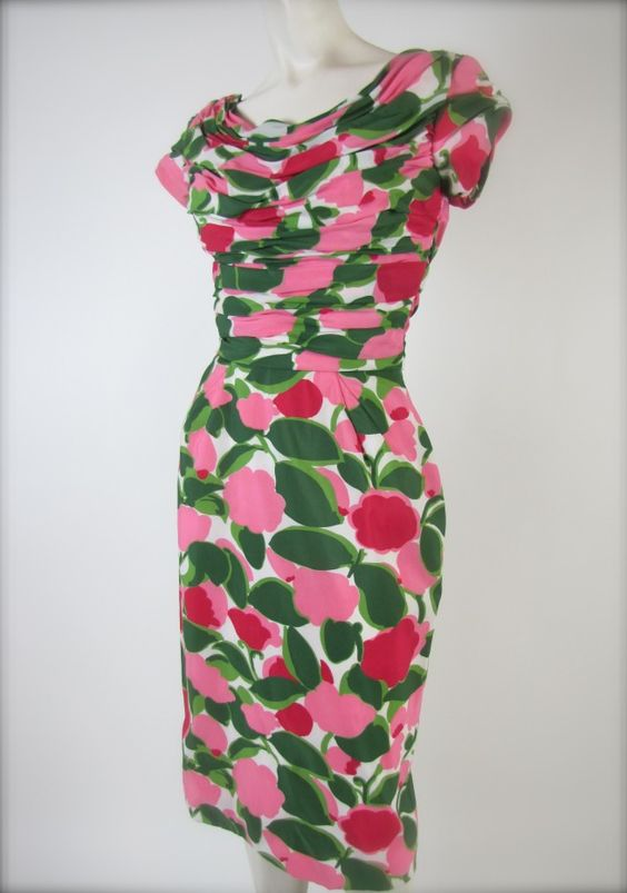 The Grand Suite - Floral Kay Selig Bold & Beautiful Parisian Style Vintage Dress c.1959