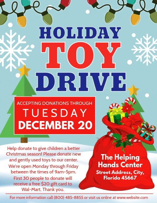 Create The Perfect Design By Customizing Easy To Use Templates In Minutes Easily Convert Your Image Desig Toy Drive Christmas Toy Drive Flyer Fundraiser Flyer
