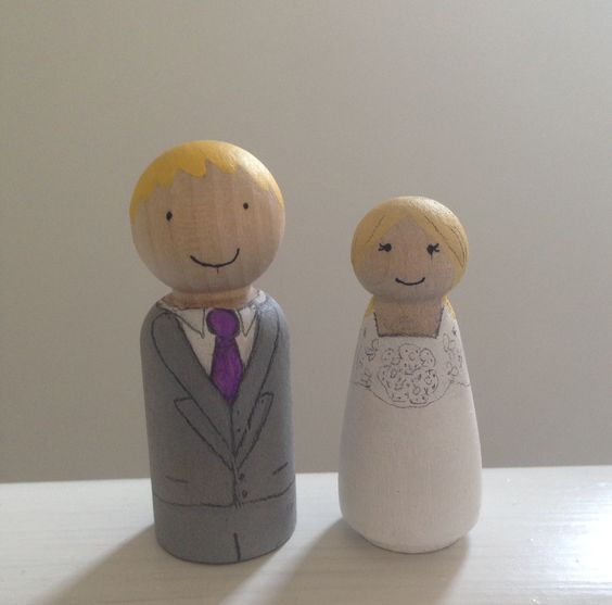 Page boy and flower girl peg dolls