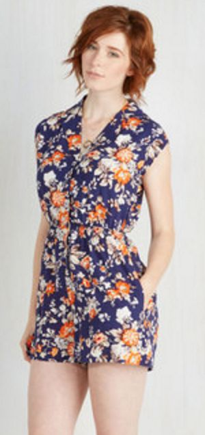 Navy and Orange Floral Collared Short-Sleev Roper