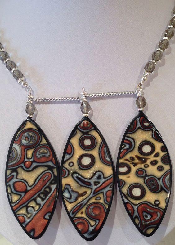 Ethnic mokume gane necklace