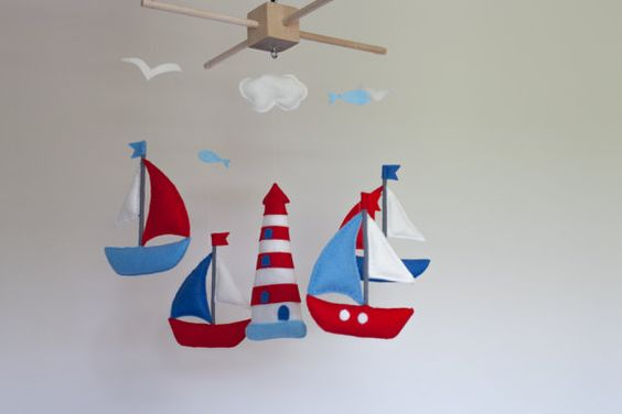 Baby mobile sailboat baby crib mobile felt sea by SpringHop