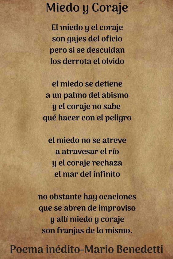 Poema inedito Mario Benedetti literatura poema miedo y coraje