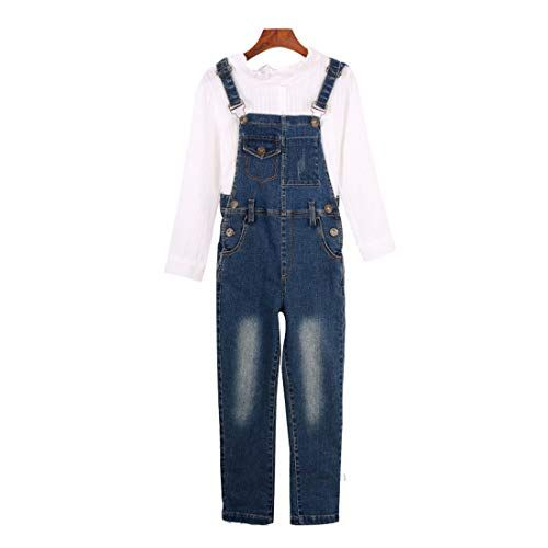 MV Girls Denim Overalls Autumn New Childrens Jumpsuit Suit Kids Long Sleeve Pants