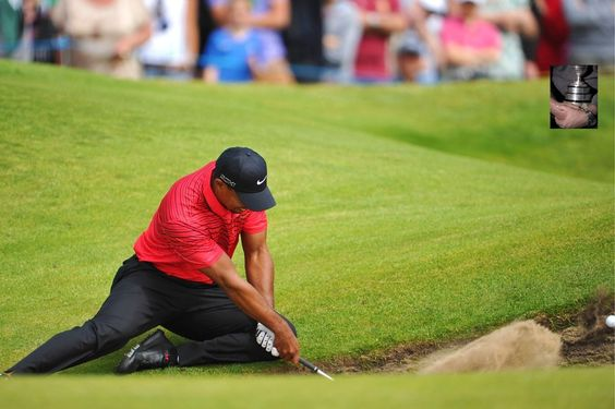 Tiger woods hitting an unusual bunker shot at the British Open.  Global Golf Post - July 23, 2012 - Page 2
