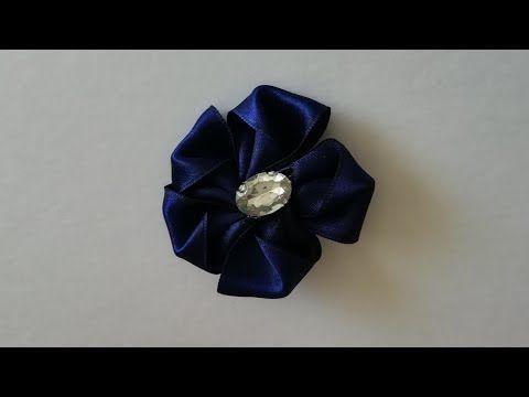 أسهل طريقة لصنع دبوس من شرائط الساتان Youtube Floral Rings Floral Brooch