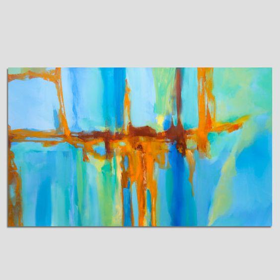 Pintura grande turquesa azul verde naranja pintura - Pintura azul turquesa ...