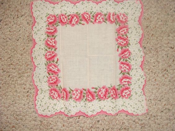 Womans Vintage Handkerchief Hankie Pink White Yellow Floral Scalloped Hem #Unbranded #Floral