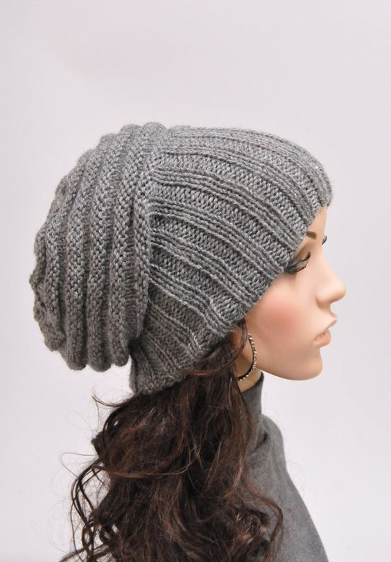 Knit Hat Chunky Yarn Pattern : Hand knit hat woman winter hat Light Grey Chunky Wool Hat slouchy hat- ready ...