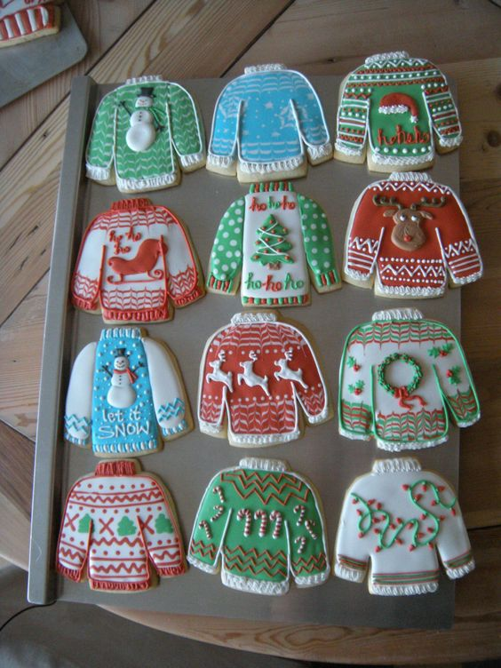 """I decided to try some """"ugly Christmas sweater"""" cookies this year."""