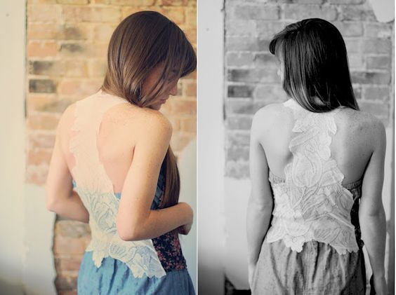 lace and jersey vest