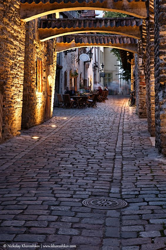 Tallinn, Estonia - One of the most charachteristic medieval streets in Tallinn.  Katariina Käik