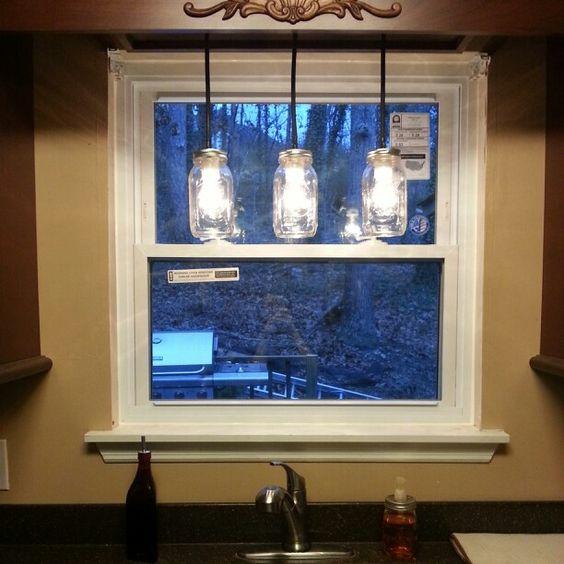 Mason Jar Light Above Sink