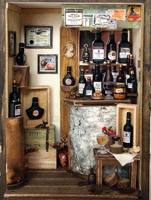 Antique Small Wine Bar On Behance ミニチュア ドールハウス ドールハウス 家