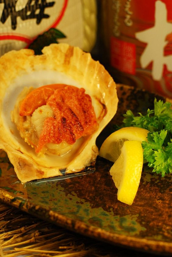 Hotate Meintai-Chizu. Scallop with cheese and a slice of lemon. Anyone?