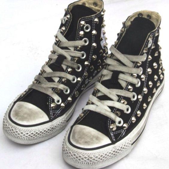 Converse all star nere con borchie