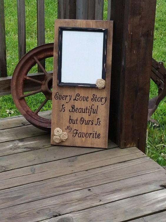 Wooden Sign Rustic Wedding Beautiful Love Story Picture Frame Burlap Flowers