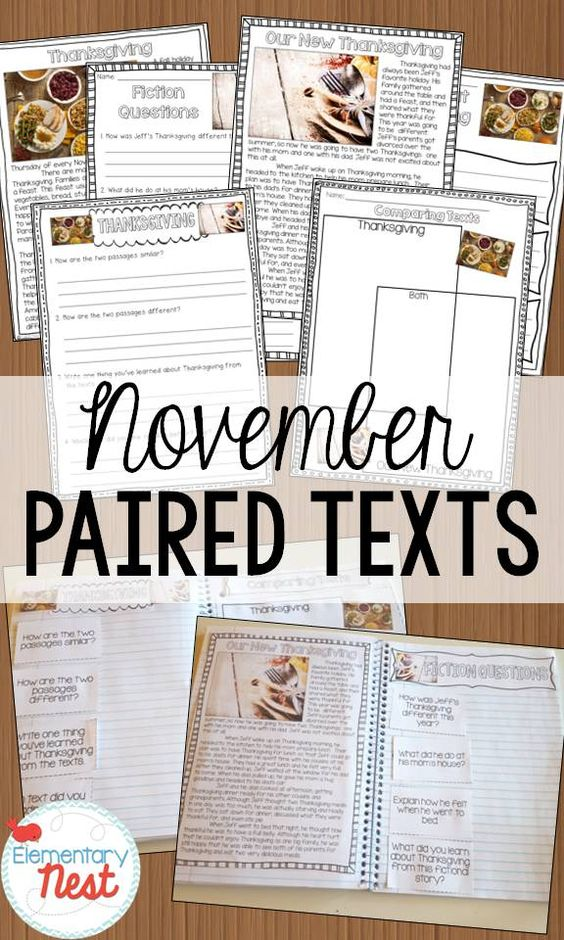 November Paired Texts- nonfiction and fiction texts paired together with November themed- Thanksgiving, Veterans Day, Voting, and turkeys: