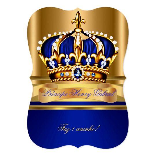 Prince Boy Baby Shower Royal Blue Gold Invitation Zazzle Com In 2021 Royal Blue And Gold Blue Gold Invitations Baby Boy Shower