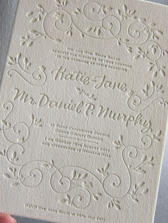 This letterpress wedding invitation from Bella Figura features the Hendrix 2 design and has reply information printed on the bottomo of the ...
