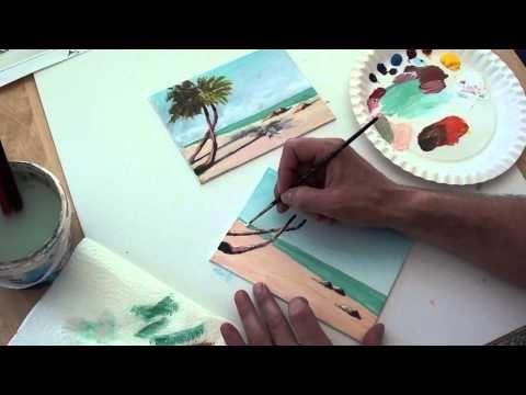 10 Minuten Malerei Eine Kleine Winterlandschaft Youtube Palmen Am Strand Acryl Malen Palme Malen