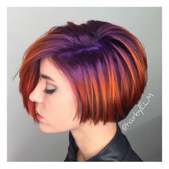 Rooted purple\/violet into metallic copper\/orange color melt, ombr\u00e9 effect, shadow root, vivid