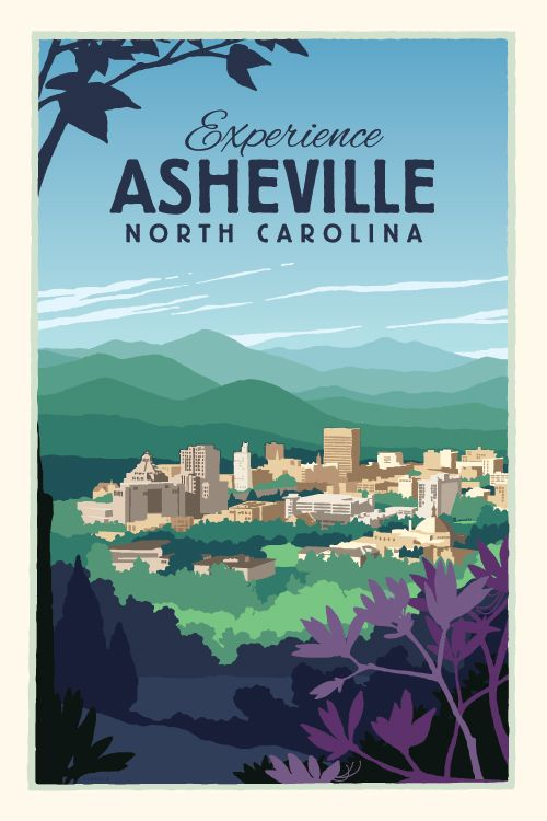 This vintage-style #Asheville poster by OpenSkyIdeas will get you ready to plan that trip!