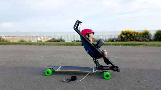 Quinny longboard, Quinny review, sports stroller, skateboard buggy