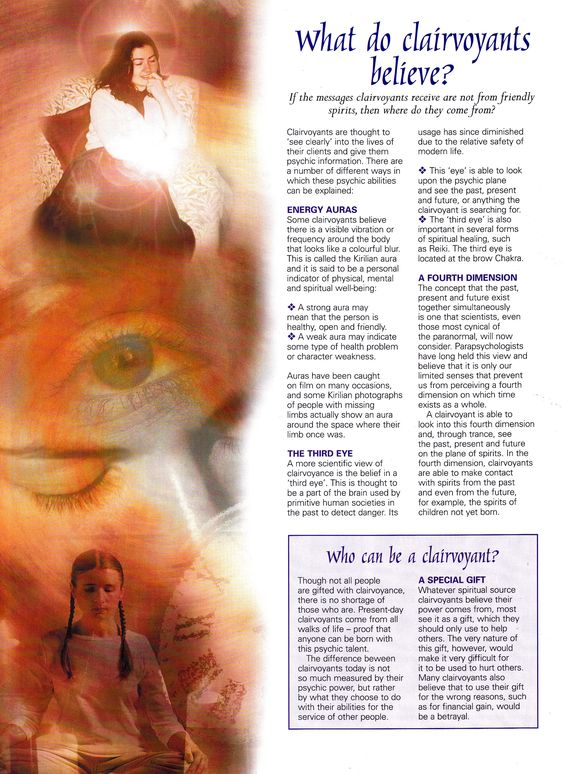 What do Clairvoyants believe ?