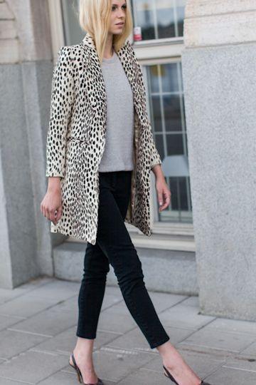 {Emerson fry wing tip coat in leopard linen}