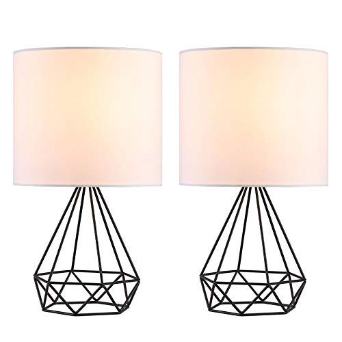 Co Z Modern Table Lamps For Living Room Bedroom Set Of 2 Black Metal Desk Lamp With Hollowed Out B In 2020 Lamps Living Room Table Lamps For Bedroom Modern Table Lamp