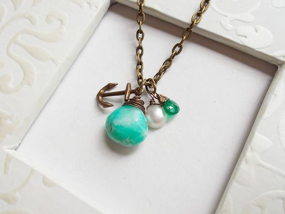 Anchored Peruvian Opal Nautical Necklace. Starting at $10 on Tophatter.com!
