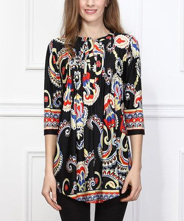 Look what I found on #zulily! Black Paisley Notch Neck Tunic - Women #zulilyfinds