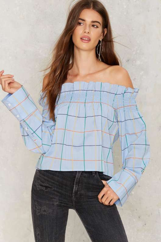 Grid Around Off-the-Shoulder Top