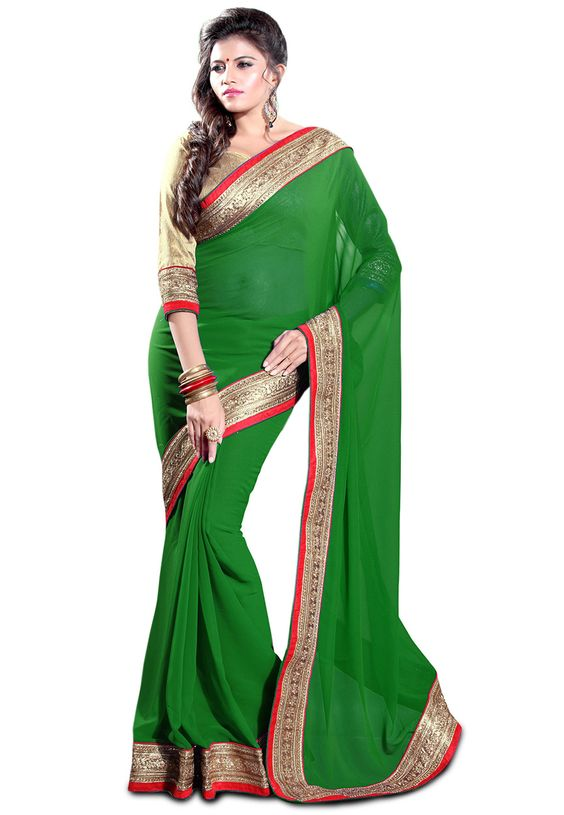 Green Faux Georgette Saree with Blouse: SBH1059