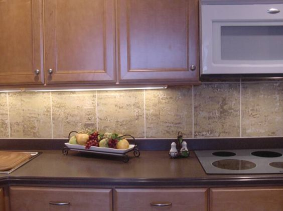faux stone backsplash