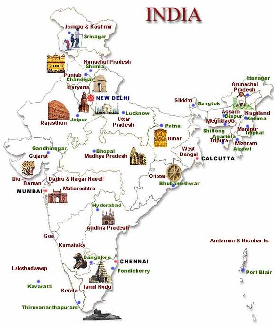 Map of India along with States and their Capital ~ Discover India