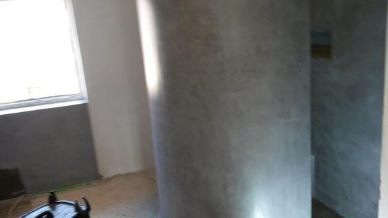 Betonoptik Muschel begehbare Dusche