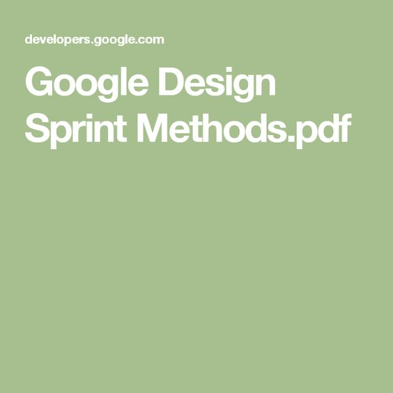 Google Design Sprint Methodspdf Design genius Pinterest - sprint customer care