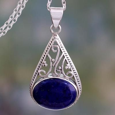 Lapis lazuli pendant, 'Regal Grandeur' - Indian Jali Style Silver Pendant with Lapis Lazuli