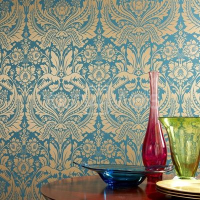 I love this Teal & Gold Damask paper